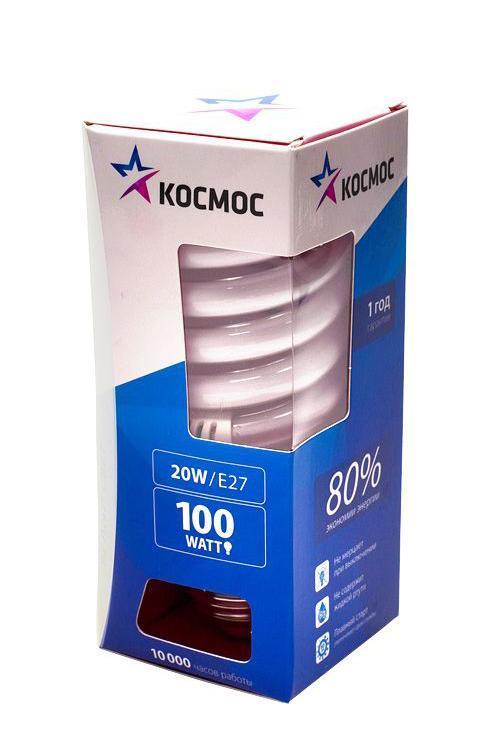 Лампа энергосберегающая Космос, свет: холодный. Модель Т3 SPC 20W E2742TL-100C-Q1Энергосберегающая лампа Космос холодного света способствует зрительному и психоэмоциональному комфорту, ее лучше использовать в гостиных, местах приема гостей, кухнях. Такая лампочка при аналогичных размерах позволяет заменить большинство галогенных ламп и ламп направленного света, при более низком энергопотреблении по сравнению с галогенными и обычными лампами накаливания. Не содержит паров ртути, так как используется технология амальгамной дозировки. Ртуть находится в связанном состоянии. Лампа обладает высоким индексом цветопередачи, это означает, что все цвета объектов, освещаемые такой лампой, выглядят естественно и натурально. Применение PTC-термистра с положительным коэффициентом температуры позволяет осуществлять плавный старт лампы, что увеличивает срок службы лампы, позволяя производить до 500 000 включений-выключений. Характеристики:Модель:Т3 SPC 20W E2742. Материал:стекло, металл, пластик. Диаметр колбы (по верхнему краю): 4,5 см. Общая длина:10,5 см. Тип цоколя:E27. Мощность:20 Вт. Соответствующая мощность лампы накаливания:100 Вт. Свет:холодный. Цветовая температура:4200К. Световой поток:1050 Lm. Средний срок службы:8000 часов. Напряжение:220-240 В. Размер упаковки: 13 см х 5,5 см х 5,5 см. Производитель: Россия. Изготовитель: Китай.Российская марка Космос была создана в 2000 году, чтобы обеспечить вас качественными и доступными электротоварами. Продукция под маркой Космос производится на лучших заводах шести стран мира: России, Украины, Белоруссии, Китая, Кореи и Японии. Перед тем как попасть на магазинные полки, лампы проходят многоуровневый контроль качества, осуществляемый независимой международной лабораторией. Лампы Космос соответствуют международным стандартам качества ISO 9001 и, наряду с российским сертификатом соответствия РосТест, имеют европейский сертификат RoHS, СЕ.Срок службы ламп Космос 10 000 часов, что в 10 раз больше обычной лампы накаливания!