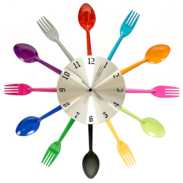 Часы настенные Вилки-ложки, цвет: мульти. 95205118510-040Часы Ложки и вилки настенные цветные ЭВРИКА / 95205 размер часов в собранном виде: 39х3 см