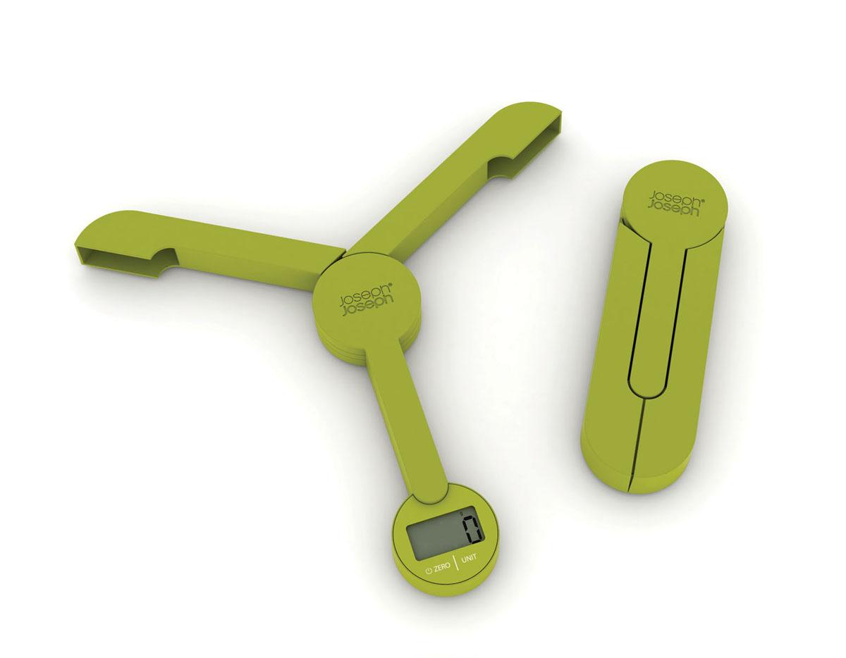 Весы кухонные Joseph Joseph TriScale, складные, цвет: зеленый, до 5 кгATH-6209 blackКухонные весы Joseph Joseph TriScale позволят вам взвесить с точностью до грамма продукты весом до 5 кг. Корпус весов выполнен из прочного пластика, снабжен 3 сенсорами. Весы оснащены прямоугольным электронным дисплеем. Основание весов имеет три устойчивые ножки с нескользящим покрытием. На корпусе расположены две сенсорные кнопки управления: кнопка включения/отключения и кнопка выбора единицы измерения Unit. Измерять можно как сыпучие продукты, так и жидкости. В весах предусмотрено 5 единиц измерения - граммы (g), миллилитры (ml), фунты (lb), унции (oz), жидкие унции (fl.oz). Если вы не используете весы более 5 минут, они отключатся автоматически. Имеется функция довеса.Весы складные (в сложенном виде занимают минимум места), это поможет сэкономить пространство на кухне. С помощью таких цифровых весов можно точно контролировать пропорции ингредиентов. Кухонные весы Joseph Joseph TriScale придутся по душе каждой хозяйке и станут незаменимым аксессуаром на кухне.