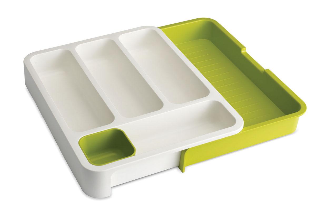 Органайзер для столовых приборов Joseph Joseph DrawerStore, раздвижной, цвет: белый, зеленый, 29 х 36 х 5,5 смFA-5125 WhiteОрганайзер для столовых приборов Joseph Joseph DrawerStore выполнен из прочного цветного пластика. С ним ваши столовые приборы всегда будут на своем месте. Органайзер имеет 4 вытянутые ячейки для столовых и чайных ложек, вилок и ножей, а также отдельный лоток для мелких насадок и кухонных принадлежностей. Органайзер раскладывается. Выдвижной ящик создает дополнительное пространство для хранения крупных приборов, таких как лопатки, венчики, шумовки и т.д. Благодаря своим размерам он удобно впишется в стандартный кухонный выдвижной ящик. Замечательный органайзер-лоток для хранения столовых приборов поможет навести на кухне полный порядок и расставить все по местам.
