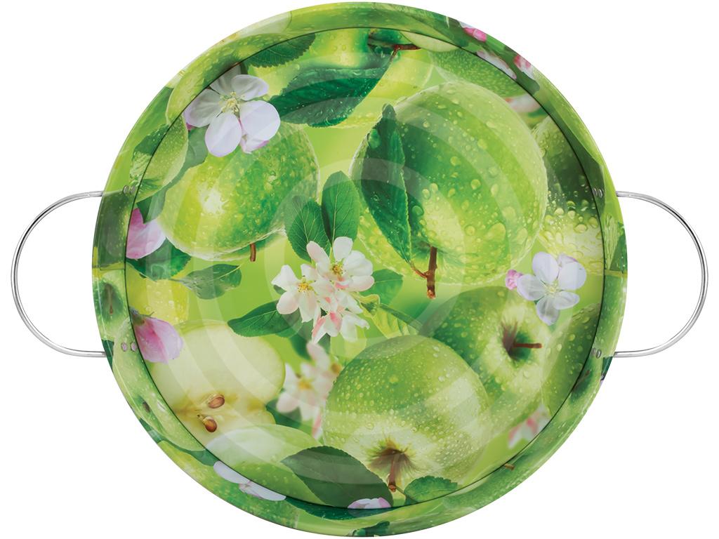 Поднос садовый Яблоки, цвет: зеленый, диаметр 34 см115510Поднос садовый Яблоки круглой формы, выполненный из стали, сочетает в себе изысканный дизайн с максимальной функциональностью. Дно оформлено красочным изображением зеленых яблок. Поднос отлично подойдет для сбора ягод, овощей и фруктов. Благодаря двум ручкам, его с легкостью можно переносить с места на место.