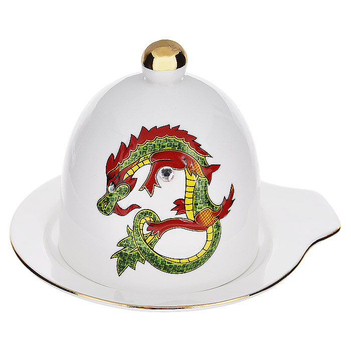 Лимонница Briswild Яркий дракон115510Лимонница Briswild Яркий дракон изготовлена из высококачественного фарфора белого цвета. Она состоит из блюдца и крышки с ручкой. Крышка и блюдце декорированы золотистой каймой, изображением дракона и стразами. Красочность оформления придется по вкусу и ценителям классики, и тем, кто предпочитает утонченность и изысканность. Лимонница упакована в подарочную коробку из плотного картона. Внутренняя часть коробки задрапирована атласной тканью, и лимонница надежно крепится в определенном положении благодаря особым выемкам в коробке.