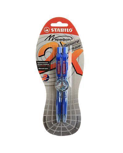 Ручка шариковая Stabilo Marathon, цвет: синий, 2 штFS-00103STABILO Marathon 318 автоматическая шариковая ручка с увеличенным запасом чернил пишет вдвое дольше других шариковых ручек - 5,5 км! Эргономичная зона обхвата предотвращает скольжение пальцев и обеспечивает комфорт при письме. Специальная технология фиксирования пишущего шарика защищает от утечки чернил, обеспечивает тонкую аккуратную линию и мягкое скольжение. Заменяемый стержень. Толщина линии 0,3 мм.