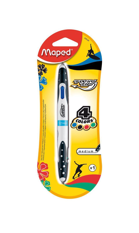 Ручка шариковая Maped Твин Тип, 4 цвета стержня: синий, черный, красный, зеленый229120