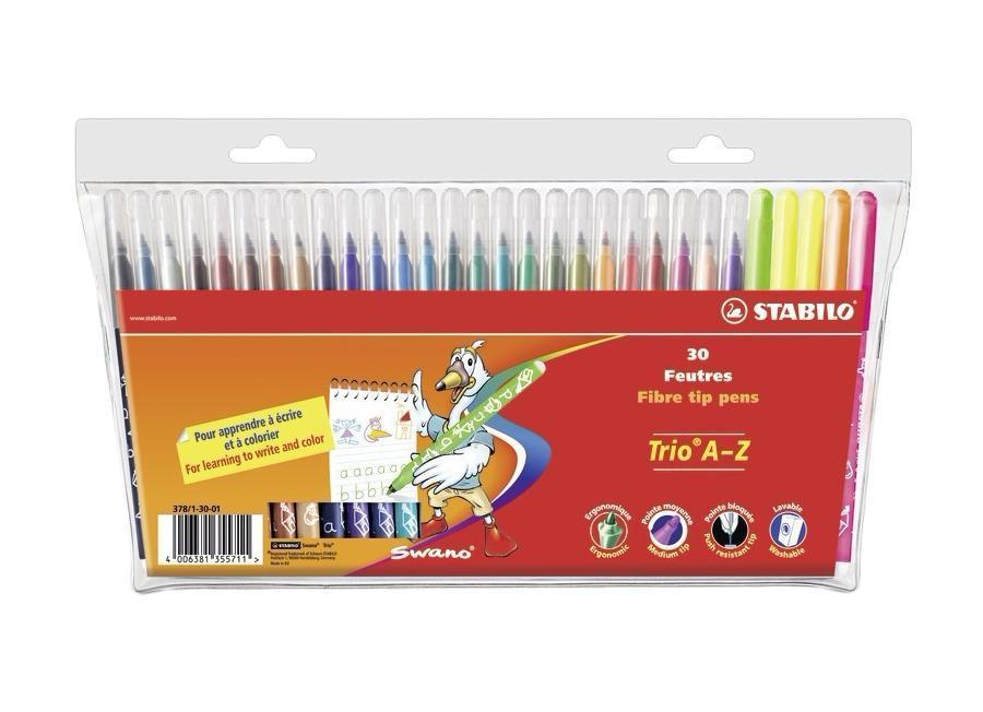 Фломастеры Stabilo Trio A-Z, 30 цветов7770/10Трехгранная форма фломастера предотвращает усталость детской руки при рисовании и позволяет привить ребенку навык правильно держать пишущий инструмент. Фломастеры рисуют яркими насыщенными цветами. Чернила на водной основе не имеют запаха и легко отстирываются водой. Фломастеры соответствуют всем требованиям безопасности, имеют вентилируемый колпачок и не токсичны. Наборы 30 цветов на любой вкус! Тонкий наконечник, толщина линии 0,7 мм.