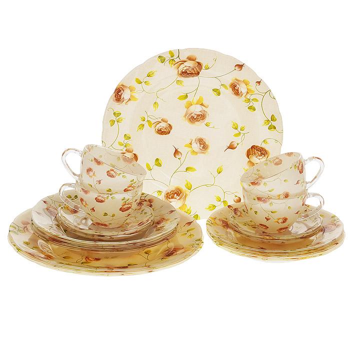 Набор посуды Розы, 20 предметов54 009312Набор посуды Розы состоит из 4 суповых тарелок, 4 обеденных тарелок, 4 десертных тарелок, 4 блюдец, 4 чашек. Изделия выполнены из высококачественного стекла и оформлены нежным цветочным рисунком. Столовый набор эффектно украсит стол к обеду, а также прекрасно подойдет для торжественных случаев.