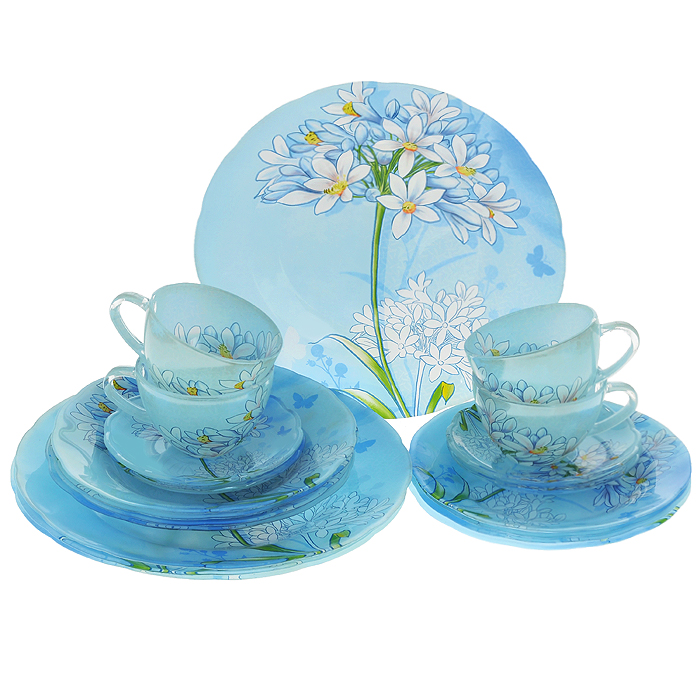 Набор посуды Кливия, 20 предметов54 009312Набор посуды Кливия состоит из 4 суповых тарелок, 4 обеденных тарелок, 4 десертных тарелок, 4 блюдец, 4 чашек. Изделия выполнены из высококачественного стекла и оформлены нежным цветочным рисунком. Столовый набор эффектно украсит стол к обеду, а также прекрасно подойдет для торжественных случаев.