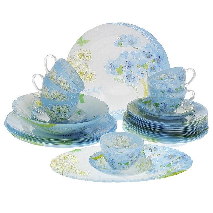 Набор посуды Камея, 32 предмета10040Набор посуды Камея состоит из 6 суповых тарелок, 6 обеденных тарелок, 6 десертных тарелок, 6 блюдец, 6 чашек, салатника, овального блюда. Изделия выполнены из высококачественного стекла и оформлены нежно-голубым цветочным рисунком. Столовый набор эффектно украсит стол к обеду, а также прекрасно подойдет для торжественных случаев.