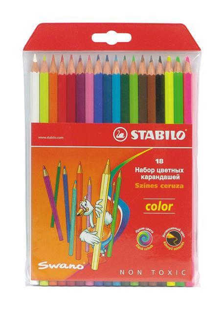 Набор цветных карандашей Stabilo Color, 18 цветовCS-MixpackА6Цветные карандаши STABILO color шестигранной формы. Широкая гамма цветов, которые отлично смешиваются и позволяют создавать огромное количество оттенков. Насыщенные цвета имеют высокую светостойкость. Мягкий грифель легко рисует на бумаге, не царапая ее и не крошась. Карандаши не ломаются при рисовании и затачивании. В наборе 15 базовых цветов и 3 флуоресцентных цвета.