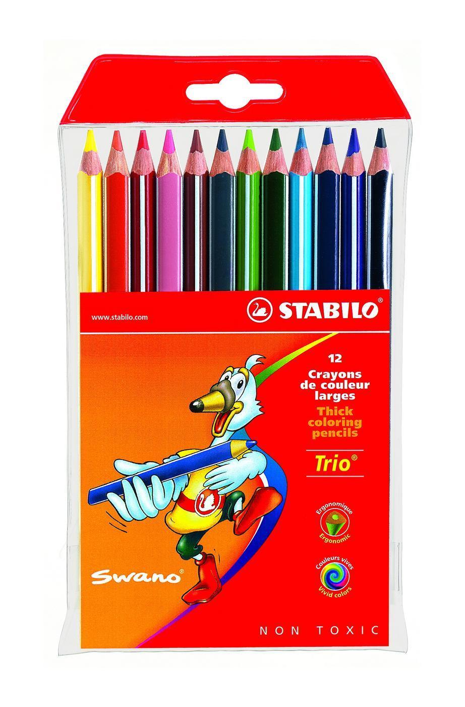 Набор цветных карандашей Stabilo Trio, 12 цветов72523WDСерия утолщенных трехгранных цветных карандашей Stabilo Trio. Трехгранная форма карандаша предотвращает усталость детской руки при рисовании и позволяет привить ребенку навык правильно держать пишущий инструмент. Подходят для правшей и для левшей. Утолщенный грифель, особо устойчивый к поломкам. В состав грифелей входит пчелиный воск, благодаря чему карандаши легко рисуют на бумаге, не царапая ее и не крошась.