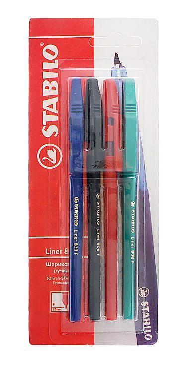 Набор шариковых ручек Stabiliner, цветные, 4 шт. 808/4-1B808/4-1BSTABILO liner 808. Шариковая ручка с заменяемым стержнем. Удобная и практичная ручка, отличающаяся надежностью и длительностью письма. Специальная технология фиксирования пишущего шарика защищает от утечки чернил, обеспечивает тонкую аккуратную линию и мягкое скольжение. Толщина линии F-0,3 мм.