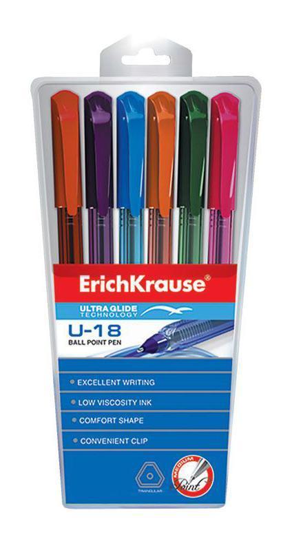 Набор шариковых ручек Erich Krause Ultra Glide Technology U-18, цветные, 6 штEK32540