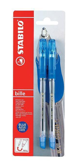 Набор шариковых ручек Stabilo Bille 508, 2 штFS-00103STABILO bille 508. Шариковая ручка с заменяемым стержнем. Утонченная, карманная модель с надежным клипом, эргономичной каучуковой зоной обхвата, цвет которой соответствует цвету чернил, и фиксатором, предотвращающим скатывание ручки со стола. Наконечник из никеля продлевает срок службы ручки. Специальная технология фиксирования пишущего шарика защищает от утечки чернил, обеспечивает тонкую аккуратную линию и мягкое скольжение. Толщина линии F-0,3 мм.