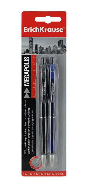 Набор шариковых ручек Erich Krause Megapolis Concept, цвет: черный, синий, 2 штEK17728