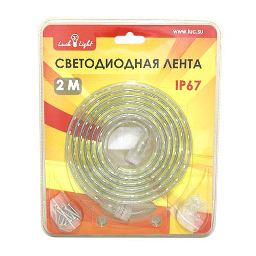 Светодиодная лента Luck&Light, 2 метра, цвет: белый55032Гибкая светодиодная лента с высокой степенью защиты предназначена для декоративного освещения вне помещений. С помощью отдельных сегментов (1 м, 2 м, 5 м), оснащенных надежным винтовым соединением, Вы легко соберете конструкцию необходимой длины.Лента укомплектована набором для крепления к поверхности.Блок питания приобретается отдельно.