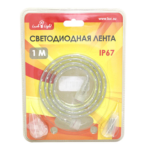 Светодиодная лента Luck&Light, 1 метр, цвет: белый145-101Гибкая светодиодная лента с высокой степенью защиты предназначена для декоративного освещения вне помещений. С помощью отдельных сегментов (1 м, 2 м, 5 м), оснащенных надежным винтовым соединением, Вы легко соберете конструкцию необходимой длины.Лента укомплектована набором для крепления к поверхности.Блок питания приобретается отдельно.