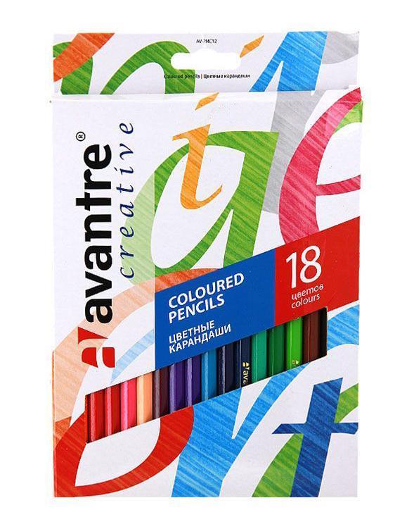 Цветные карандаши Avantre, 18 цветов72523WDКлассические цветные шестигранные карандаши Avantre, непременно, порадуют самых маленьких художников, которые только начинают свой творческий путь. Невероятно мягкий ударопрочный грифель карандашей, переклеенный по всей длине, не ломается и не крошится при заточке. Специальное покрытие и многослойная лакировка уменьшают скольжение, что делает процесс рисования максимально комфортным.При создании карандашей использовалась специальная технология изготовления грифелей Intensive Colour - только яркие, контрастные цвета.Набор содержит 18 шестигранных заточенных карандашей.