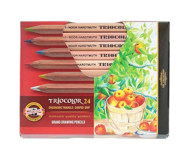 Цветные карандаши Triocolor, художественные, 24 цвета72523WDНабор художественных цветных карандашей TRICOLOR в утолщенном корпусе из натурального неокрашенного дерева. Благодаря Цветные художественные карандаши Triocolor непременно, понравятся вашему юному художнику. Набор включает в себя 24 ярких насыщенных цветных карандаша, которые идеально подходят для малышей. Эргономичный трехгранный утолщенный корпус изготовлен из натуральной неокрашенной древесины. Карандаши имеют прочный неломающийся грифель, не требующий сильного нажатия и легко затачиваются. Порадуйте своего ребенка таким восхитительным подарком!