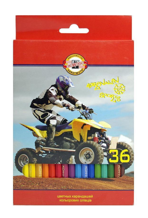 Цветные карандаши Спорт, 36 цветов3555/36 7 KSЦветные карандаши Спорт непременно, понравятся вашему юному художнику. Набор включает в себя 36 ярких насыщенных цветных карандашей, которые идеально подходят для малышей. Шестигранный корпус изготовлен из натуральной древесины. Карандаши имеют прочный неломающийся грифель, не требующий сильного нажатия и легко затачиваются. Порадуйте своего ребенка таким восхитительным подарком!