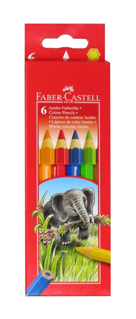 Цветные карандаши JUMBO, набор цветов, в картонной коробке, 6 шт.FC 111206Цветные карандаши JUMBO c толстым корпусом шестигранной формы, яркие, насыщенные цвета, , специальное место для имени, отстирываются с большинства обычных тканей, качественная мягкая древесина для хорошего затачивания, специальная SV технология вклеивания грифеля предотвращает его поломку при падении на пол, покрыты лаком на водной основе для защиты окружающей среды Вид карандаша: цветной.Материал: дерево.