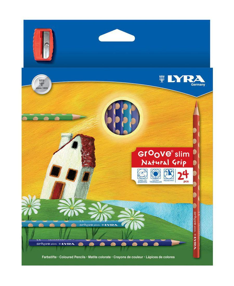 Цветные карандаши Lyra Groove Slim, с точилкой, 24 цвета72523WDЦветные карандаши Lyra Groove Slim непременно, понравятся вашему юному художнику. Набор включает в себя 24 ярких насыщенных цветных карандаша треугольной формы с эргономичным захватом. Идеальны для раннего развития ребенка. Карандаши изготовлены из натурального сертифицированного дерева, экологически чистые. Имеют ударопрочный неломающийся высокопигментный грифель, не требующий сильного нажатия и легко затачиваются. Порадуйте своего ребенка таким восхитительным подарком! В комплекте: 24 карандаша, точилка.