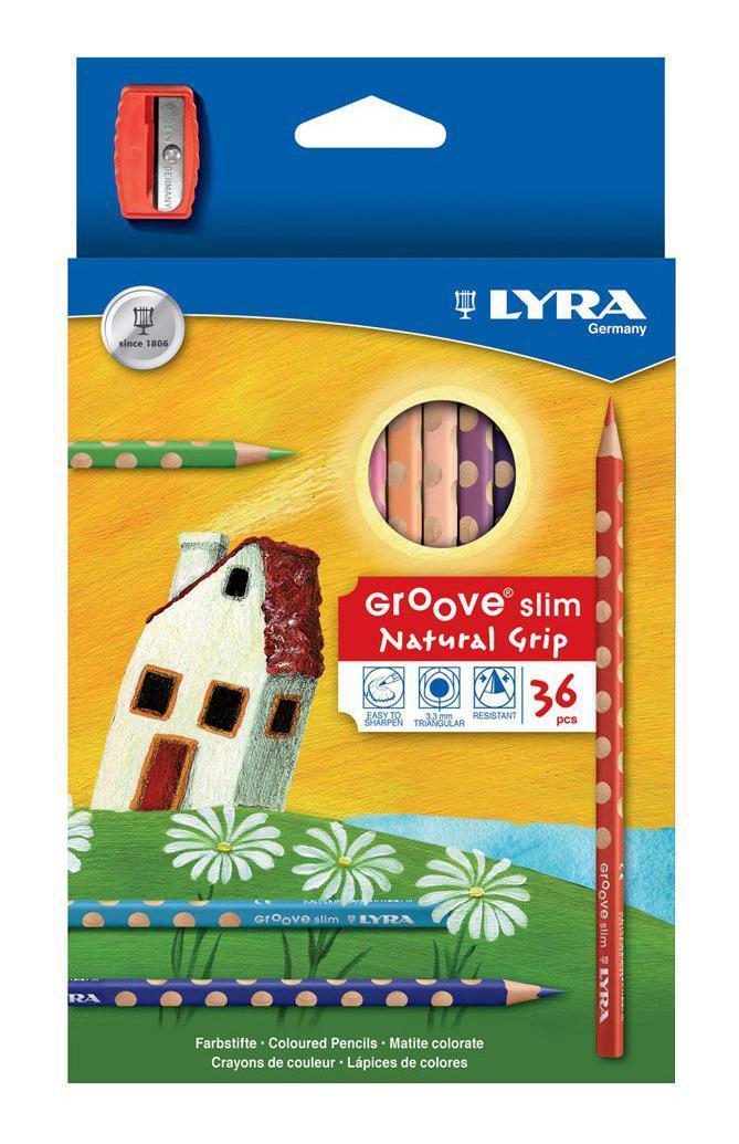 Цветные карандаши Lyra Groove Slim, с точилкой, 36 цветов72523WDЦветные карандаши Lyra Groove Slim непременно, понравятся вашему юному художнику. Набор включает в себя 36 ярких насыщенных цветных карандаша треугольной формы с эргономичным захватом. Идеальны для раннего развития ребенка. Карандаши изготовлены из натурального сертифицированного дерева, экологически чистые. Имеют ударопрочный неломающийся высокопигментный грифель, не требующий сильного нажатия и легко затачиваются. Порадуйте своего ребенка таким восхитительным подарком! В комплекте: 36 карандашей, точилка.