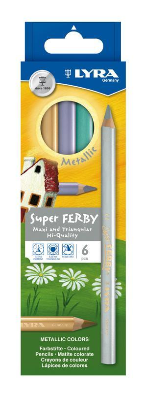 Цветные карандаши Lyra Super Ferby Metallic, 6 цветовC13S041944Цветные карандаши Lyra Super Ferby Duo Metallic непременно понравятся вашему юному художнику. Набор включает в себя 6 ярких цветных карандаша c эффектом металлик. Карандаши имеют эргономичную округло-треугольную форму, которая подходит для раннего развития ребенка. Карандаши изготовлены из натурального сертифицированного дерева, экологически чистые. Имеют ударопрочный неломающийся высокопигментный грифель, не требующий сильного нажатия. Легко затачиваются. Порадуйте своего ребенка таким восхитительным подарком! В комплекте: 6 цветных карандашей.