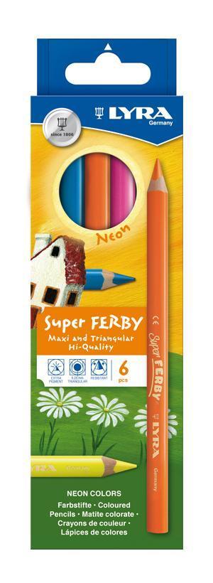 Цветные карандаши Lyra Super Ferby Neon, 6 цветовL3721063Цветные карандаши Lyra Super Ferby Neon непременно понравятся вашему юному художнику. Набор включает в себя 6 ярких насыщенных неоновых цветных карандаша. Имеют эргономичную округло-треугольную форму, которая подходит для раннего развития ребенка. Карандаши изготовлены из натурального сертифицированного дерева, экологически чистые. Имеют ударопрочный неломающийся высокопигментный грифель, не требующий сильного нажатия. Легко затачиваются. Порадуйте своего ребенка таким восхитительным подарком! В комплекте: 6 карандашей.
