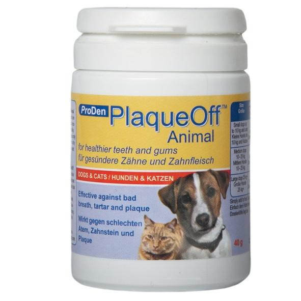 Средство для профилактики зубного камня ProDen PlaqueOff, для кошек и собак, 40 г0120710Средство для профилактики зубного камня ProDen PlaqueOff - это натуральный продукт, содержащий особый тип морских водорослей - Algae D1070 (Ascophyllum nodosum). Препарат выпускается в гранулированной форме, что очень удобно для ежедневного добавления в пищу питомца. ProDen PlaqueOf не содержит искусственных красителей, консервантов, глютена и сахара. Морская водоросль богата витаминами и минералами. В ее состав входят 12 важных витаминов, 13 минералов и микроэлементов; кроме того, водоросль богата натуральным йодом.Положительный эффект достигается благодаря ингредиентам, которые усваиваются в процессе пищеварения и выделяют в слюну вещества, предотвращающие образование зубного налета, а также способствуют более легкому механическому очищению зубного камня. Клинические испытания на людях показали, что отложение зубного налета на эмали зубов уменьшается на 88%, а существующий зубной камень исчезает или размягчается. Согласно проведенным исследованиям, результат становится заметным уже через четыре недели. Эффективность ProDen PlaqueOff повышается при регулярном использовании.Способ применения: один раз в день добавляйте в сухой или влажный корм.Не рекомендован животным, страдающим гипотиреозом. Товар сертифицирован.