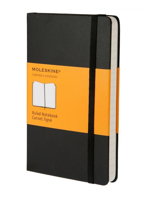 Moleskine Записная книжка Classic Pocket цвет черный72523WDЗаписная книжка Moleskine Classic Pocket - прекрасный инструмент для записи мыслей и важных заметок. Прошитый основной блок содержит 192 страницы в линейку без полей. Неповторимые черты записной книжки Молескин:Удобная эластичная застежка;Прочная влагозащитная обложка;Прошитый нитками переплет;Практичные скругленные углы;Быстро впитывающая чернила бумага;Функциональная лента-закладка.