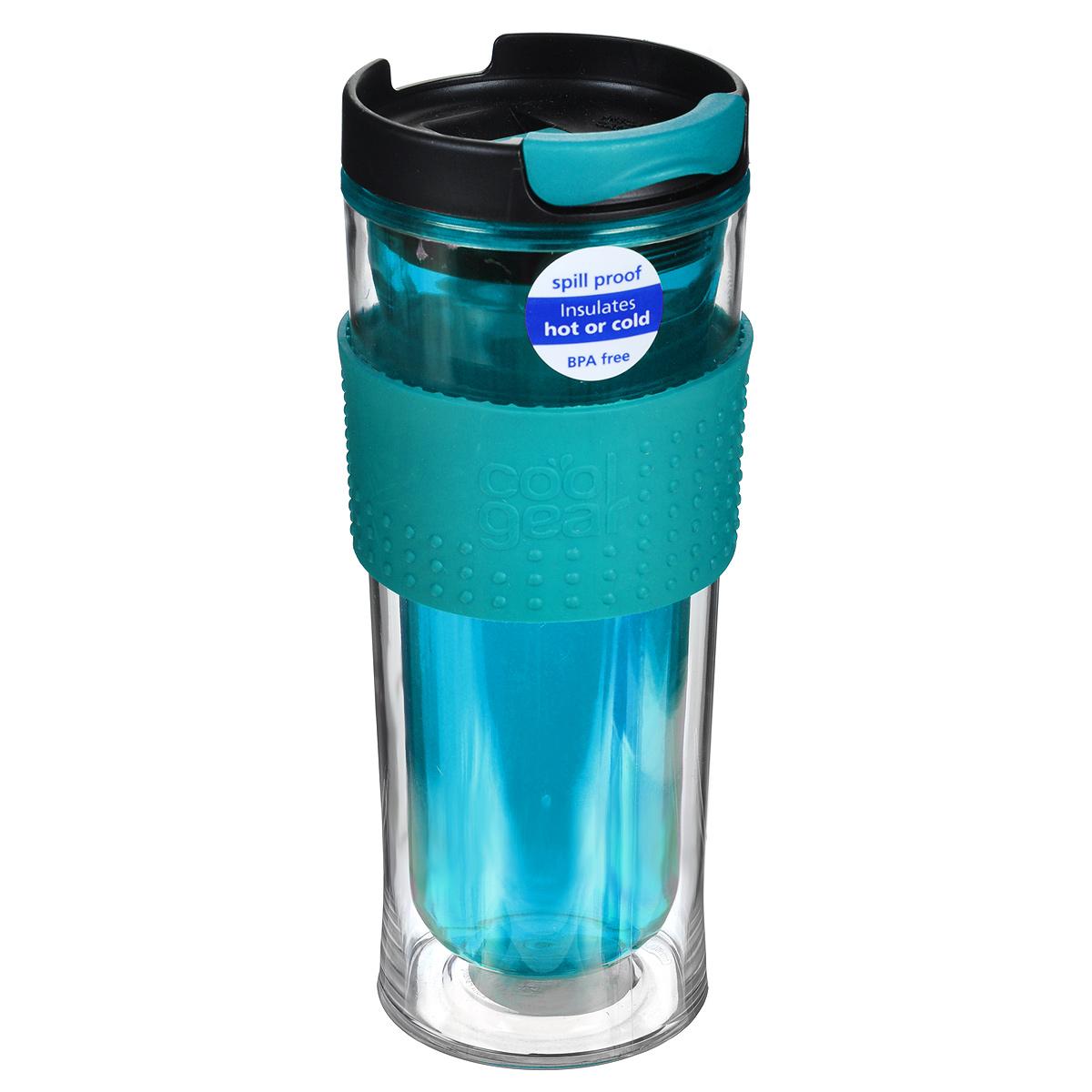 Кружка дорожная Cool Gear Eco 2 Go для горячих напитков, цвет: бирюзовый, черный, 420 мл. 1280KUP GBДорожная кружка Cool Gear Eco 2 Go изготовлена из высококачественного BPA-freeпластика, не содержащего токсичных веществ. Двойные стенки дольше сохраняют напитокгорячим и не обжигают руки. Надежная закручивающаяся крышка с защитой от проливанияобеспечит дополнительную безопасность. Крышка оснащена клапаном для питья.Оптимальный объем позволит взять с собой большую порцию горячего кофе или чая. Также подходит и для холодных напитков. Антискользящий ободок предотвращает выскальзывание кружки из рук.Кружка идеальна для ежедневного использования. Она станет вашим обязательнымспутником в длительных поездках или занятиях зимними видами спорта.Не рекомендуется использовать в микроволновой печи и мыть в посудомоечноймашине.Cool Gear - мировой лидер в сфере производства товаров для питья, продукциякоторого пользуется огромной популярностью по всему миру! Ассортимент компаниивключает более 120 видов бутылок для питья и дорожных кружек. Выбирайте для себялучшее с Cool Gear!