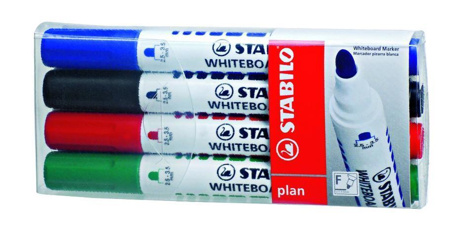 Набор маркеров Stabilo Plan 641, 4 шт641/4STABILO plan 641.Заправляемый маркер для белых досок с круглым наконечником. Надписи легко и без следов удаляются сухой салфеткой или специальной губкой. Идеально подходит для письма на флипчартах и бумаге. Чернила без запаха. Толщина линии 2,5-3,5 мм. Набор маркеров для досок STABILO plan 641 в пластиковом футляре. Четыре цвета: синий, черный, красный, зеленый.
