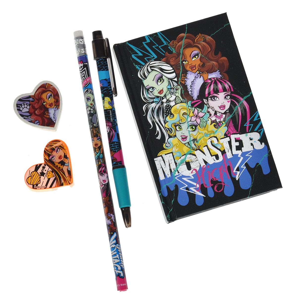 Канцелярский набор Monster High, 5 предметов72523WDКанцелярский набор Monster High станет незаменимым атрибутом в учебе любого школьника.Он включает в себя чернографитный карандаш с ластиком на конце, ластик, точилку, автоматическую ручку и записную книжку.Ручка снабжена прорезиненной вставкой в области захвата, подача стержня производится путем нажатия на кнопку в верхней части ручки.Обложка записной книжки выполнена из плотного картона, внутренний блок содержит листы с печатью. Все предметы набора оформлены изображениями супергероя Monster High (Школа Монстров).