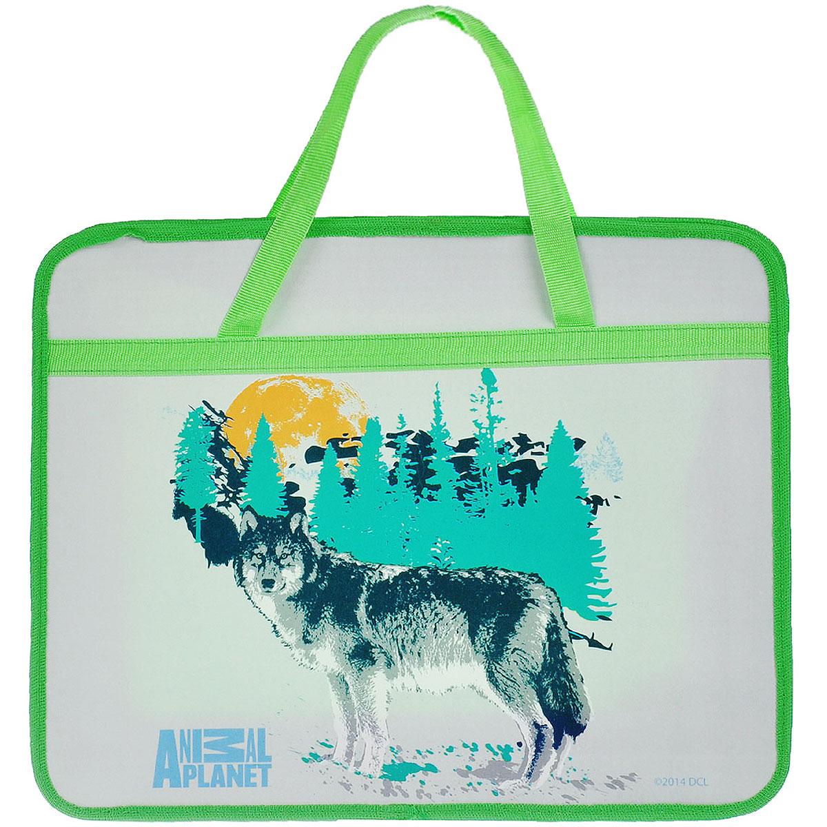Папка для тетрадей Action! Animal Planet, цвет: серый, салатовыйC13S041944Папка Action! Animal Planet предназначена для хранения тетрадей, рисунков и прочих бумаг с максимальным форматом А4. Папка выполнена из прочного материала, оформлена изображением волка и содержит одно отделение. Закрывается она на застежку-молнию. Папка дополнена двумя текстильными ручками для переноски.С папкой Action! Animal Planet тетради вашего ребенка всегда будут выглядеть опрятно.