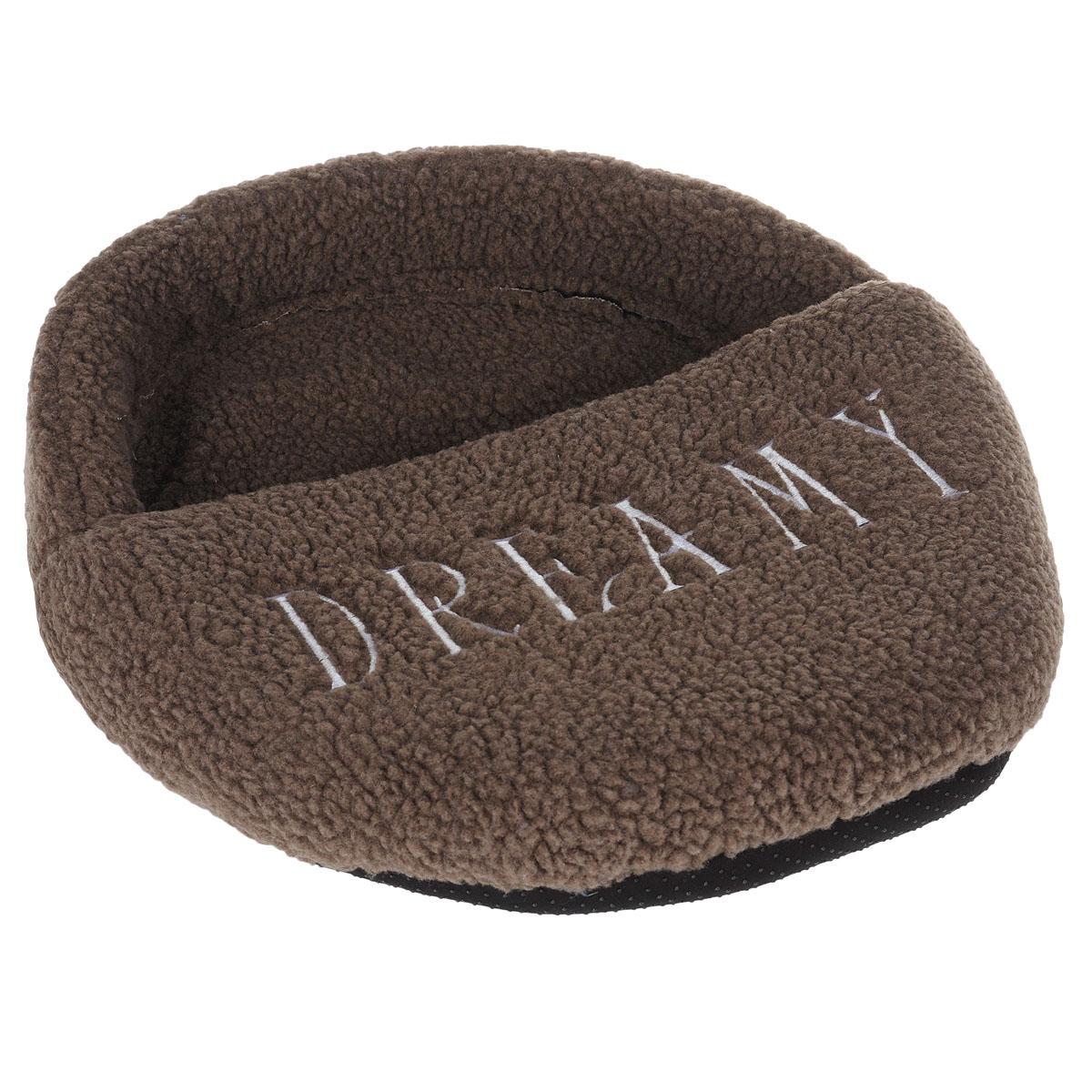 Лежак для кошек I.P.T.S. Dreamy, цвет: коричневый, 50 см х 38 смDM-160347-2Мягкий лежак из овчины I.P.T.S. Dreamy - комфортный уголок для вашего любимого четвероногого друга. Изделие выполнено из овчины приятного цвета и по форме напоминает тапок. Это особенно понравится озорному котёнку, ведь в тапочке можно спрятаться. На внешней стороне изделия в качестве украшения есть вышивка в виде надписи Dreamy.Размер лежанки: 50 см x 38 см. Товар сертифицирован.