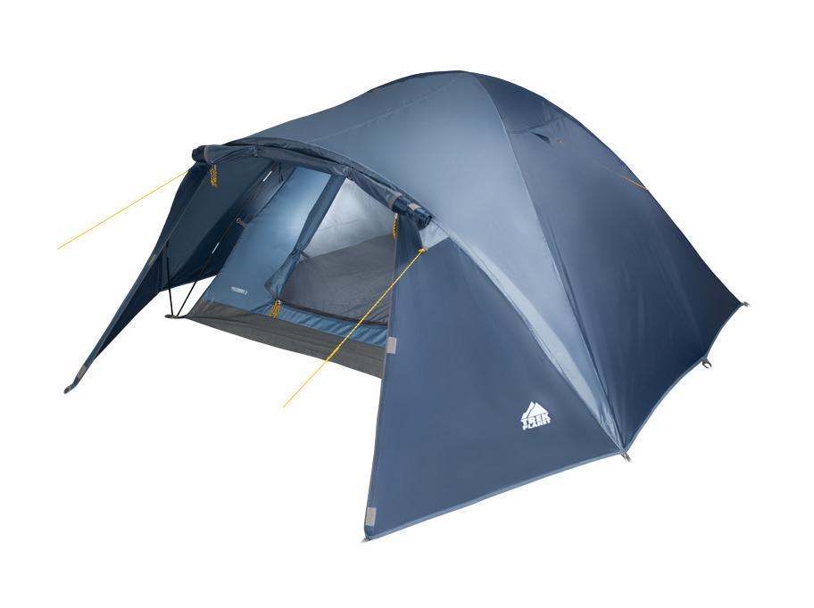 Палатка двухместная Trek Planet Palermo 2, цвет: синий1301210Двухслойная двухместная палатка куполообразной формы с вместительным тамбуром Trek Planet Palermo 2 - отлично подойдет для похода или путешествия.Особенности модели:Палатка легко и быстро устанавливается,Тент палатки из полиэстера, с пропиткой PU водостойкостью 3000 мм, надежно защитит от дождя и ветра,Все швы проклеены,Внутренняя палатка, выполненная из дышащего полиэстера, обеспечивает вентиляцию помещения и позволяет конденсату испаряться, не проникая внутрь палатки,Москитная сетка на входе в спальное отделение в полный размер двери,Вентиляционный клапан,Каркас выполнен из прочного стеклопластика,Дно изготовлено из прочного армированного полиэтилена,Внутренние карманы для мелочей,Возможность подвески фонаря в палатке. Палатка упакована в сумку-чехол с ручками, застегивающуюся на застежку-молнию.Размер в сложенном виде: 60 см х 16 см х 16 см.
