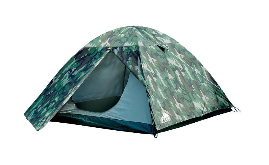 Палатка трехместная TREK PLANET Alaska 3, цвет: камуфляж67742Отличная двухслойная камуфляжная трехместная палатка с тамбуром Trek Planet Alaska 3 - один из лучших вариантов для любителей туризма, рыбалки или охоты. Ее основное преимущество - двуслойная конструкция, не позволяющая конденсату оседать на стенках спального помещения. Кроме этого, в наличии небольшой удобный тамбур, а благодаря камуфляжной расцветке - палатка не привлекает лишнего внимания на природе. Особенности модели:Размер: 190 см х (210+70) см х 120 см;Палатка легко и быстро устанавливается;Тент палатки из полиэстера, с пропиткой PU водостойкостью 2000мм, надежно защитит от дождя и ветра;Все швы проклеены;Внутренняя палатка, выполненная из дышащего полиэстера, обеспечивает вентиляцию помещения и позволяет конденсату испаряться, не проникая внутрь палатки;Москитная сетка на входе в спальное отделение в полный размер двери;Вентиляционный клапан;Каркас выполнен из прочного стеклопластика;Дно изготовлено из прочного армированного полиэтилена;Внутренние карманы для мелочей;Возможность подвески фонаря в палатке. Для большего комфорта прилагается чехол для хранения с удобной ручкой.