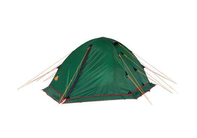 Палатка Alexika Rondo 2 Plus Green67742Трекинговая палатка RONDO 2 Plus - удобная классическая модель стандартной формы, которую вы сможете установить за максимально короткий промежуток времени. Данная палатка устойчива и надежна, ее конструкция поддерживается при помощи легких, но достаточно прочных алюминиевых дуг, предотвращающих возможное провисание тента. Отличается от Rondo 2 наличием юбки по периметру, которая предохраняет внутреннее пространство в условиях непогоды и сильного ветра. Непромокаемое внешнее покрытие палатки производится из тентованного полотна Polyester, а дно выполняется из очень плотной прорезиненной ткани. Палатка RONDO 2 Plus предназначена для комфортного отдыха двух туристов, хотя в ее внутреннем пространстве при необходимости без труда могут поместиться и три человека. Главное преимущество палатки RONDO 2 Plus - наличие двух вместительных тамбуров, где туристы могут оставить свои рюкзаки. Данная модель также характеризуется двумя раздельными входами, чтобы туристы, покидающие палатку среди ночи, не потревожили сон друг друга. Еще одна особенность модели RONDO 2 Plus - наличие удобной внутренней палатки из полупрозрачного желтого полотна, которая удобно и надежно закрывается на змейку-молнию. Откидывающийся полог из тента зеленого цвета после закрытия позволяет сделать внутреннее пространство спальной палатки герметичным, защищая спящих туристов во время ночных понижений температур. Вес: 4,1 кг. Количество мест: 2. Сезонность: весна-осень. Размер: 340 x 210 x 100 см. Размер в чехле: 16 x 52 см. Материал тента: Polyester 190T PU 4000 mm. Материал дна: Polyester 150D Oxford PU 6000 mm. Внутренняя палатка: есть. Материал дуг: Alu 8.5 Alu 9.5. Ветроустойчивость: средняя. Количество входов: 2. Цвет: зеленый. Область применения: трекинг.Технологии:Юбка по периметру. Пропитка, задерживающая распространение огня. Швы герметизированы термоусадочной лентой. Узлы палатки, испытывающие высокие нагрузки, усилены более прочной тканью. Край тента обшит п