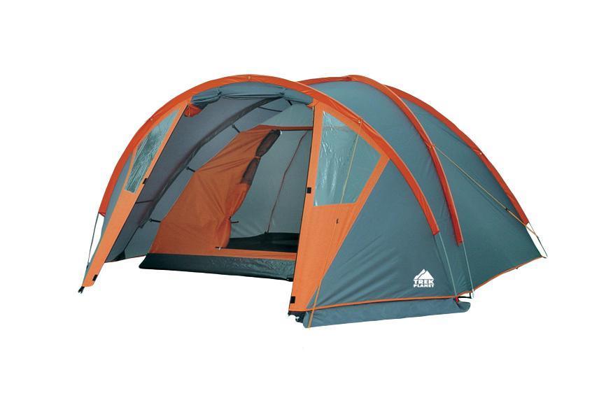 Палатка четырехместная TREK PLANET Hudson 4, цвет: серый оранжевый