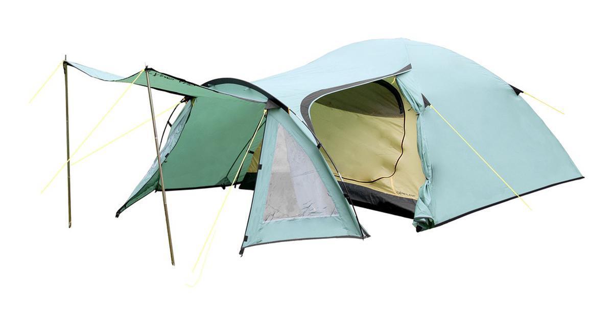 Палатка Campland Lizard 3 Green-Yellow33782Палатка двухслойная туристическая трехместная Campland Lizard. Полусфера с очень большим тамбуром. Швы проклеены. Предусмотрены двойные двери с москитными сетками и вентиляционное окно. Характеристики: Размер палатки в разложенном виде (ДхШхВ): 347 см х 217 см х 130 см. Наружный тент:72D 185Т полиэстер . Внутренняя палатка: 68D 210T полиэстер Ripstop. Дно: армированный полиэтилен 120 г/м2 . Каркас:дуги из фибергласса диаметром 9,5 мм и 8,5 мм. Вес:5000 г. Размер в сложенном виде: 57 см х 17 см х 16 см.