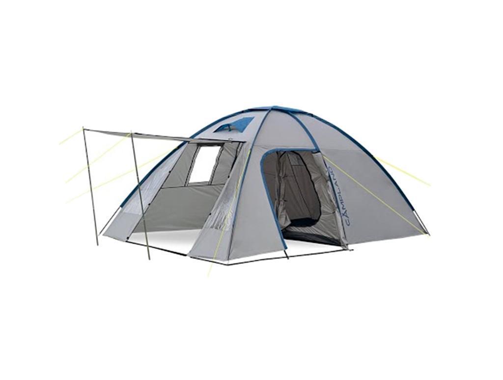 Палатка Campland Coyote 4 Grey-BlueCoyote 4_желтый, серыйПалатка двухслойная четырехместная Campland Coyote. Высокая палатка с очень большим тамбуром.Внутри палатки можно встать в полный рости в тамбуре, и в комнате. Внешний тент водонепроницаем.Москитные сетки расположены на входных дверях во внутренней палатке. Особенности:Панорамные окна с двух сторон;Чехол с утягивающими стропами;Проклеенные швы;Термосклейка швов дна;Оттяжки по углам тента;Двуслойные двери.В спальном месте окон нет. Характеристики: Размер палатки в разложенном виде (ДхШхВ): 430 см х 250 см х 195 см. Наружный тент:72D 190Т полиэстер . Внутренняя палатка: 170T дышащий полиэстер. Дно: армированный полиэтилен 120 г/м2 . Каркас:дуги из фибергласса диаметром 9,5 мм и 11 мм и стальные стойки 16 мм. Вес:8800 г. Размер в сложенном виде: 66 см х 19 см х 21 см.