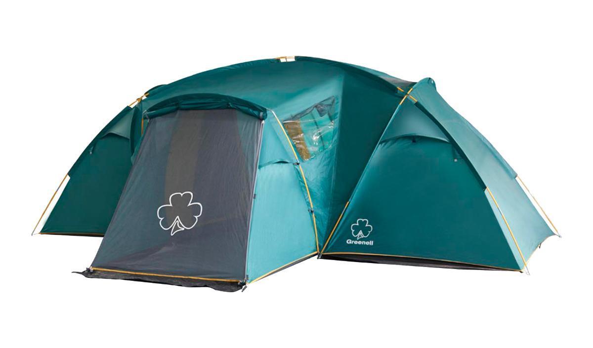 Палатка Greenell Виржиния 6 плюс Green25543-303-00Комфортная кемпинговая палатка с двумя комнатамии увеличенным тамбуром Два спальных отделения. Просторный тамбур с двумя входами. Эффективная система вен- тиляции. Возможна отдельная установка тента. Цвет: Зеленый. Сезон: лето.