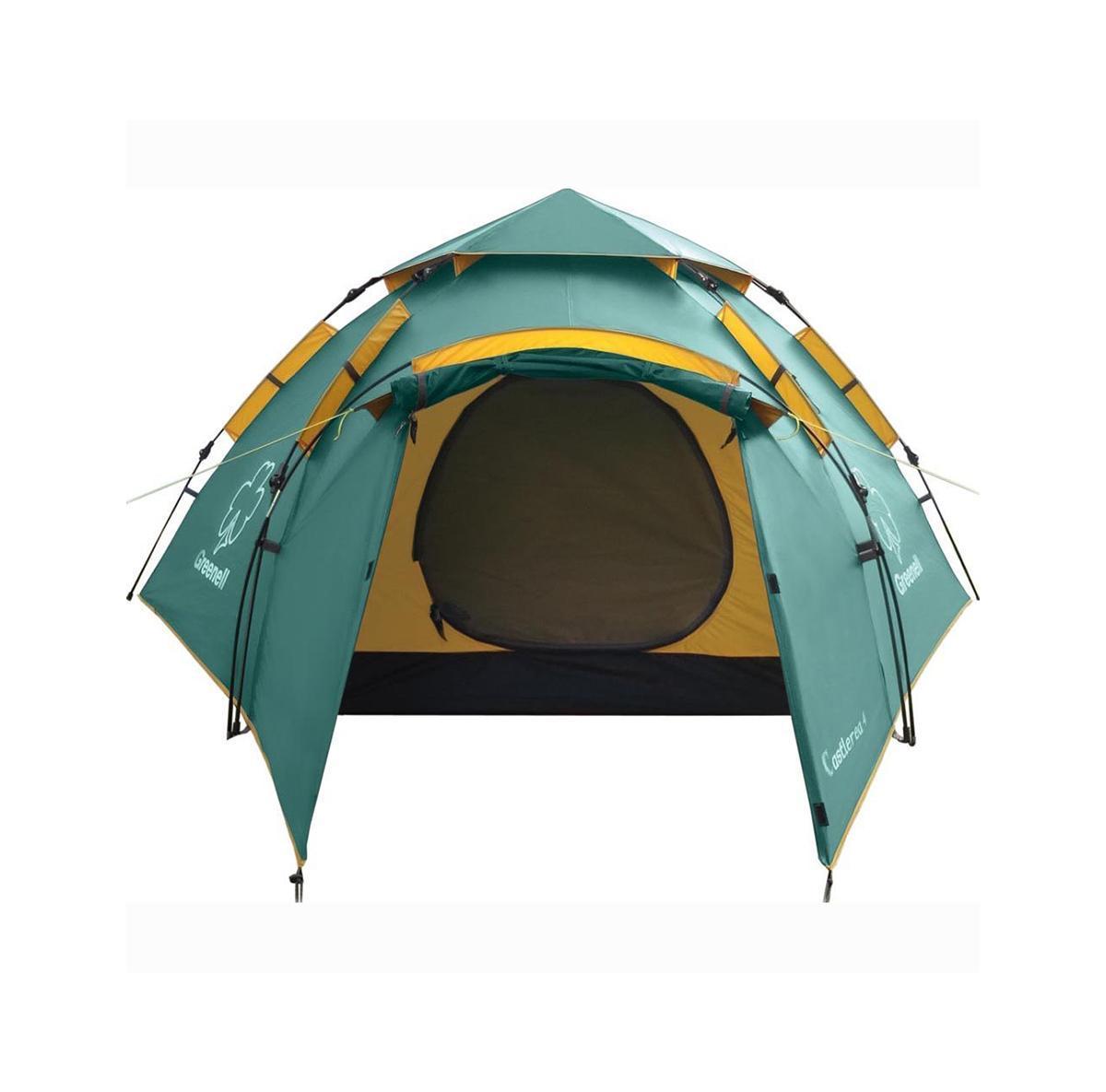 Палатка Greenell Каслрей 4 Green95283-303-00Максимально места на одного человека при минимальном весе палатки Кемпинговая палатка с полуавтоматическим каркасом. Установка за 1 минуту. Двухслойнаяпалатка с дополнительной дугой для тамбура. Один тамбур и два входа. Внутренняя палатка итент устанавливаются одновременно. Легко ставиться одним человеком. Минимум времени дляустановки и сборки. Q-образный вход продублирован сеткой. Улучшенная сквозная вентиляция.Проклеенные швы. Облегченная регулировка оттяжек со световозвращающей нитью. Цвет: Зеленый. Сезон: лето.