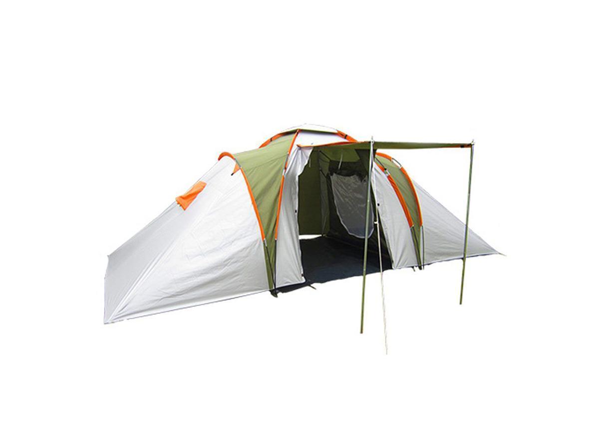 Палатка Happy Camper PL-4P-005N-125383-303-00Эта четырехместная палатка идеально подойдет для отдыха большой компанией на природе. Две просторные спальные зоны и вместительный тамбур с полом позволят комфортно разместиться всей семьей. Противомоскитные сетки на четырех окнах и двери защитят от насекомых, а все необходимые мелочи всегда будут под рукой благодаря внутренним карманам.Особенности:Удобная сумка из полиэстера;30 колышков, 10 строп для укрепленной растяжки;Проклеенные швы. Характеристики: Размер палатки в разложенном виде (ДхШхВ): 450 см х 210 см х 170 см. Наружный тент:190T полиэстер с полиуретановым покрытием. Внутренняя палатка: дышащий полиэстер. Дно: полиэтилен. Каркас:дуги из фибергласа диаметром 8,5 мм и 9,5. Вес:8500 г. Размер в сложенном виде: 66 см х 18 см х 18 см.