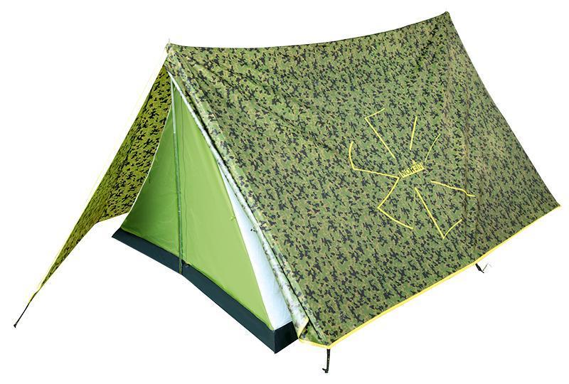 Палатка Norfin Tuna 2 CamoKOC-H19-LEDСовременный дизайн классической, проверенной временем двускатной палатки. Легкая, компактная, простая в сборке. Идеальна для рыболовов и охотников. Особенности:-вход один;-вход продублирован антимоскитной сеткой;-кармашки для мелочей;-крючок для подвески фонаря;-все швы палатки герметизированы при помощи термоусадочной водонепроницаемой ленты;-петли для фиксации скатанного входа.Материал тента: Polyester 190T 70D PU;Материал внутренней палатки: 190T Polyester дышащий;Материал дна: PE 120 г/м2;Материал дуг: сталь, 16 мм.