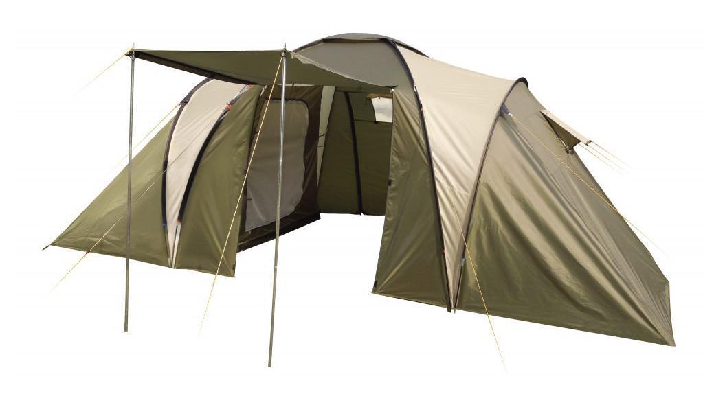 Палатка шестиместная TREK PLANET Idaho Twin 6, цвет: светлый хаки, хаки9126.3101Шестиместная двухслойная семейная палатка TREK PLANET Idaho Twin 6 с двумя спальными отделениями, отличной вентиляцией и большим внутренним помещением между спальными отделениями - отличный выбор для большого семейного кемпинга и отдыха на природе.Особенности модели:- Тент палатки из полиэстера с пропиткой PU надежно защищает от дождя и ветра. - Все швы проклеены.- Большое и высокое внутреннее помещение между спальными отделениями палатки, где свободно размещается кемпинговый стол и стулья на четверых человек.- Обзорное окно со шторкой во внутреннем помещении.- Эффективная потолочная система вентиляции в тамбуре. - Большой выносной козырек на металлических стойках.- Дно из прочного водонепроницаемого армированного полиэтилена позволяет устанавливать палатку на жесткой траве, песчаной поверхности, глине и т.д.- Дуги из прочного стекловолокна.- Внутренние палатки из дышащего полиэстера, обеспечивают вентиляцию помещения и позволяют конденсату испаряться, не проникая внутрь палатки.- Трехпозиционные вентиляционные окна в спальных отделениях (закрыто, частично открыто, полностью открыто). - Удобная D-образная дверь на входе во внутреннюю палатку. - Москитная сетка на каждом входе во внутреннюю палатку в полный размер двери. - Внутренние карманы для мелочей в каждом отделении.- Возможность подвески фонаря в палатке.Для удобства транспортировки и хранения предусмотрен чехол из прочного полиэстера OXFORD, с двумя ручками и закрывающийся на застежку-молнию.