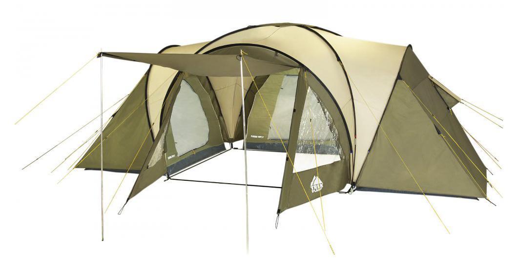 Палатка шестиместная TREK PLANET Florida Tripl 6, цвет: хаки70224Шестиместная двухслойная семейная палатка TREK PLANET Florida Tripl 6 с тремя отдельными спальными отделениями, отличной вентиляцией, огромным и высоким (220 см) тамбуром между спальными отделениями - отличный выбор для большого семейного кемпинга и отдыха на природе.Особенности:Тент палатки из полиэстера с пропиткой PU надежно защищает от дождя и ветра,Все швы проклеены,Большое и высокое внутреннее помещение между спальными отделениями палатки, где свободно размещается кемпинговый стол и стулья на 6 человек,Эффективная потолочная система вентиляции в тамбуре,Два обзорных окна со шторками в тамбуре, Большой выносной козырек на металлических стойках,Дно из прочного водонепроницаемого армированного полиэтилена позволяет устанавливать палатку на жесткой траве, песчаной поверхности, глине,Дуги из прочного стекловолокна,Внутренние палатки из дышащего полиэстера, обеспечивают вентиляцию помещения и позволяют конденсату испаряться, не проникая внутрь палатки,Трехпозиционные вентиляционные окна на каждом из трех спальных отделений (закрыто, частично открыто, полностью открыто),Удобная D-образная дверь на входе в каждое из трех спальных отделений,Москитная сетка на входе в каждое из трех спальных отделений в полный размер двери,Внутренние карманы для мелочей в каждом спальном отделении;Возможность подвески фонаря в палатке,Для удобства транспортировки и хранения предусмотрен чехол из прочного полиэстера OXFORD, с двумя ручками и закрывающийся на застежку-молнию.