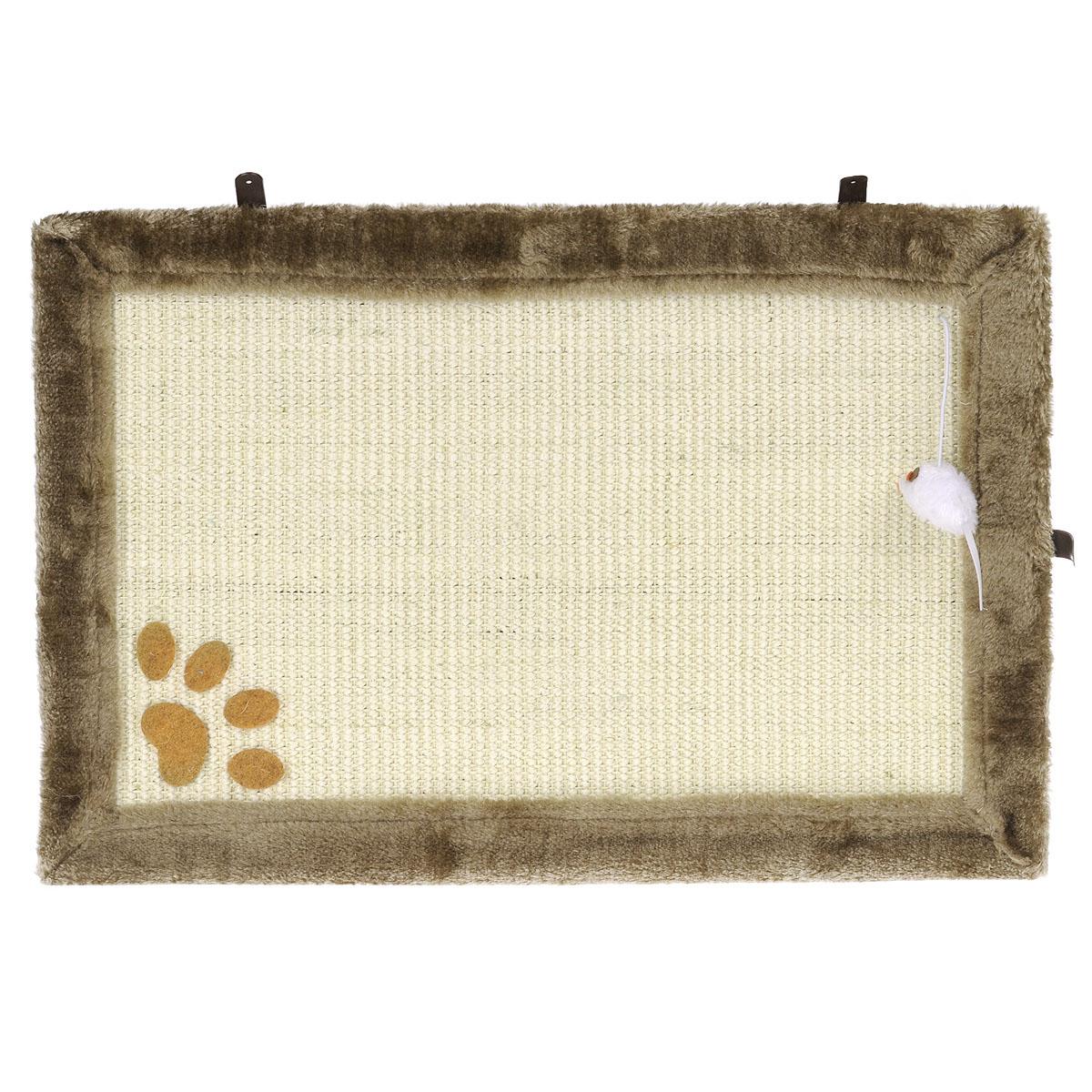 Когтеточка-коврик I.P.T.S., цвет: бежевый, 55 см х 35 см0120710Когтеточка в виде коврика I.P.T.S. изготовлена из сизаля - устойчивого натурального материала.По краям коврик обит плюшем, который так нравится кошкам. В уголке прикреплена игрушечная мышка на веревочке, которая поможет привлечь внимание вашего питомца к когтеточке и приучить его точить когти в нужном месте. Коврик можно разместить в любом месте вашего дома или даже повесить на стену. Перед тем, как определиться с местом, понаблюдайте за привычками своего любимца - где ему больше по душе точить когти.В комплект входят 3 шурупа.