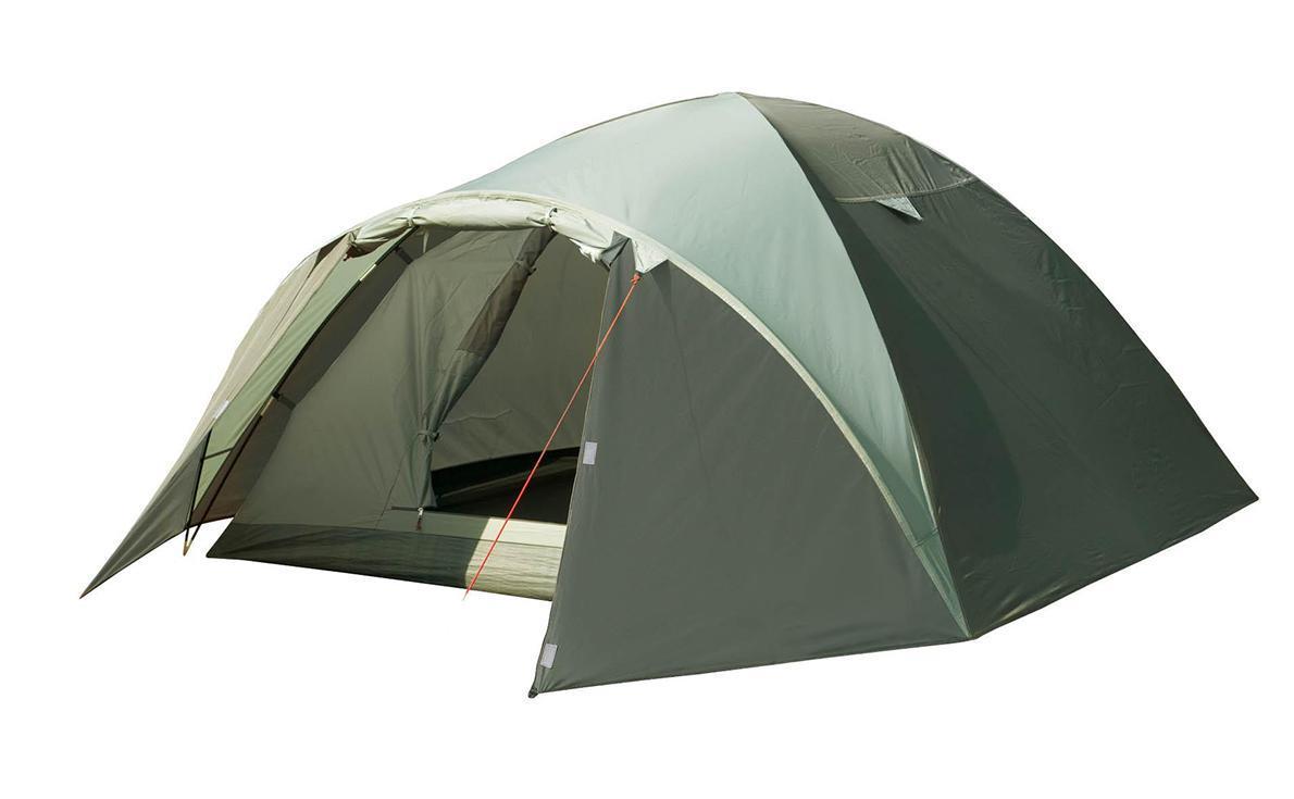 Палатка четырехместная TREK PLANET Denver Air 4, цвет: оливковыйAS009Четырехместная палатка куполообразной формы Trek Planet Denver Air 4 с отличной вентиляцией, вместительным тамбуром и двумя входами, отлично подходит для длительного путешествия.Особенности модели:Простая и быстрая установка.Тент палатки из полиэстера, с пропиткой PU водостойкостью 3000 мм, надежно защищает от дождя, все швы проклеены.Дно палатки из прочного полиэстера Oxford водостойкостью 6000 мм.Каркас из жестких, прочных и легких композитных дуг (Durapol).Внутренняя палатка из дышащего полиэстера, обеспечивает вентиляцию помещения и позволяет конденсату испаряться, не проникая внутрь палатки.Два входа во внутреннюю палатку с противоположных сторон тента.Удобная D-образная дверь с москитной сеткой в полный размер на каждом входе во внутреннюю палатку.Вентиляционное окно.Внутренние карманы для мелочей.Возможность подвески фонаря в палатке.Для удобства транспортировки и хранения предусмотрен современный компрессионный чехол с ручкой.Trek Planet - проверенный туристический бренд по производству товаров для туристов, охотников и рыболовов: палатки для активного отдыха, спальники, рюкзаки, туристические коврики и аксессуары. Trek Planet использует лучшие износостойкие материалы и последние технологические разработки.Размер: 240 см х (210+100) см х 130 см.Размер внутренней палатки: 240 см х 210 см х 130 см.Размер палатки (в собранном виде): 19,5 см х 62 см.