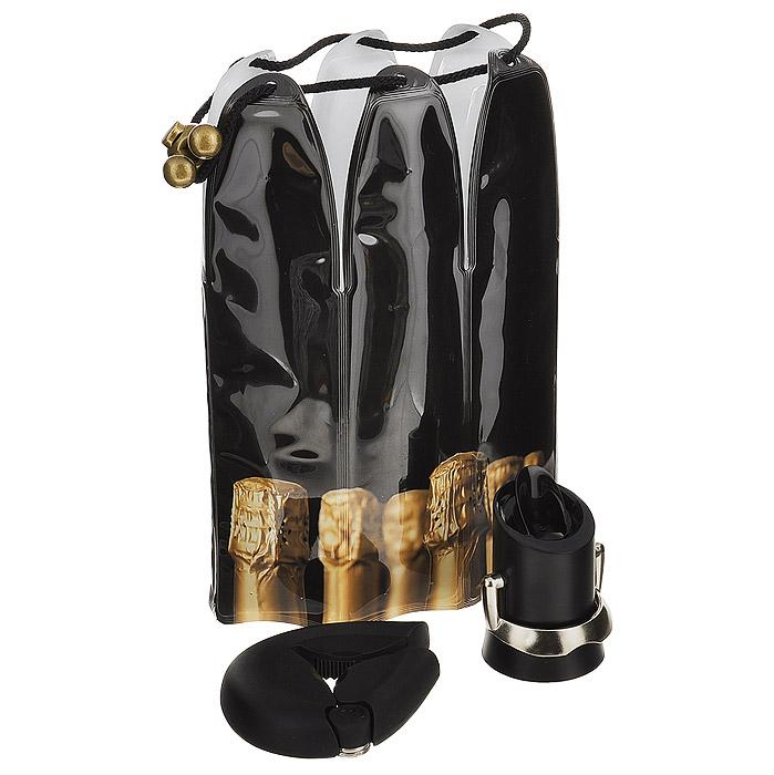 Подарочный набор VacuVin Champagne Essentials, 3 предмета. 3889760VT-1520(SR)Подарочный набор VacuVin Champagne Essentials состоит из охлаждающей рубашки, пробки для сохранения и розлива напитков и устройства для открывания бутылок. Набор специально предназначен для шампанского. Охлаждающая рубашка - это уникальное приспособление, которое часами сохраняет напиток холодным даже в жаркую погоду. Внутри содержится специальный гель, не токсичный и безопасный для здоровья. Рубашку необходимо положить в морозильную камеру всего на 5 минут, а затем надеть на бутылку. Благодаря завязкам рубашка надежно сидит на бутылке. Пробка, выполненная из пластика черного цвета, подходит ко всем видам бутылок шампанского. Она сохраняет вкус шампанского и пузырьки, благодаря чему вы можете снова насладиться любимым напитком через несколько дней. Через пробку шампанское также можно и разливать. Благодаря металлической ручке отверстие в пробке легко открывается и закрывается. Устройство для открывания бутылок поможет вам без труда открыть любую бутылку шампанского. Выполнено из пластика, удобно в использовании. Подарочный набор дополнит вашу коллекцию аксессуаров для шампанского.